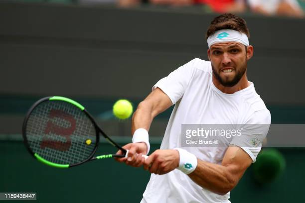 Jiri Vesely of Czech Republic plays a backhand in his Men's Singles first round match against Alexander Zverev of Germany during Day one of The...