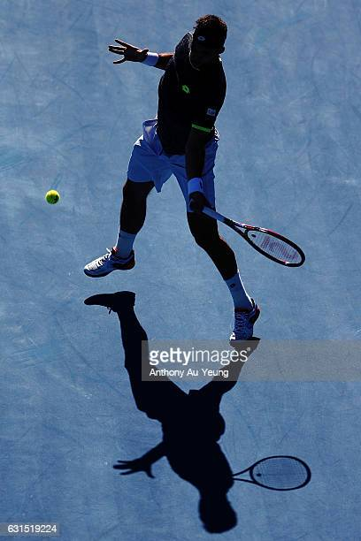 Jiri Vesely of Czech Republic plays a forehand in his match against Marcos Baghdatis of Cyprus on day 11 of the ASB Classic on January 12 2017 in...