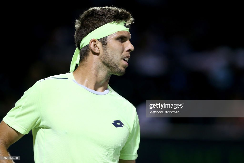 Jiri Vesely of Czech Republic plays Jack Sock during the Miami Open at the Crandon Park Tennis Center on March 26, 2017 in Key Biscayne, Florida.