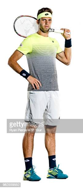 Jiri Vesely of Czech Republic poses for portraits during the Australian Open at Melbourne Park on January 13 2018 in Melbourne Australia
