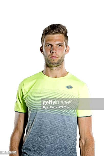 Jiri Vesely of Czech Republic poses for portraits during the Australian Open at Melbourne Park on January 12 2018 in Melbourne Australia