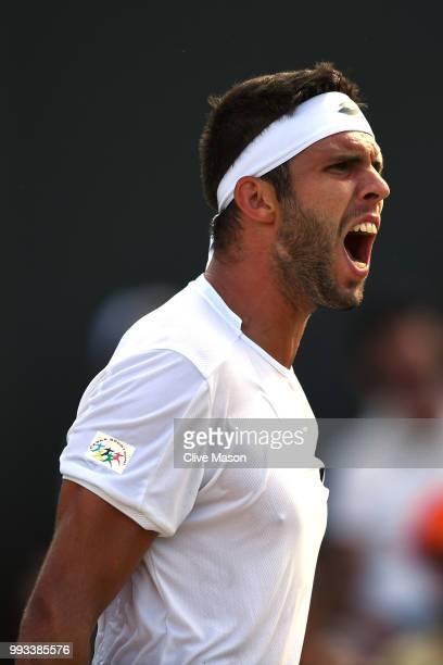 Jiri Vesely of Czech Republic reacts against Fabio Fognini of Italy during their Men's Singles third round match on day six of the Wimbledon Lawn...