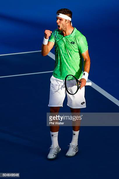 Jiri Vesely of the Czech Republic celebrates a point against Roberto Agut Bautista of Spain in their singles match on Day 8 of the ASB Classic on...