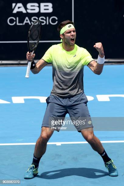 Jiri Vesely of the Czech Republic celebrates a point in his quarterfinal match against Roberto Bautista Agut of Spain during day four of the ASB...