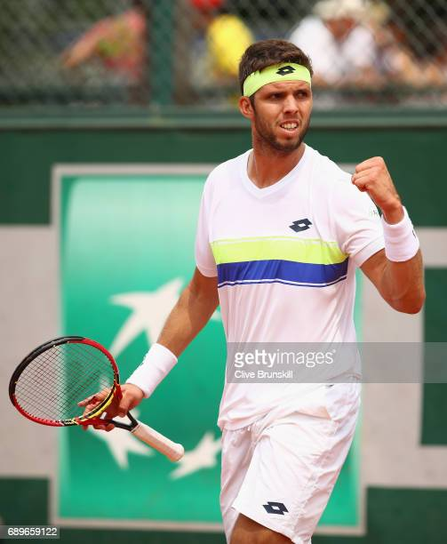 Jiri Vesely of The Czech Republic celebrates during the mens singles first round match against Jack Sock of The United States on day two of the 2017...