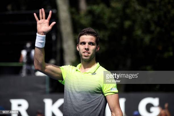 Jiri Vesely of the Czech Republic celebrates his win over Sam Querrey of the USA in their second round match on day three of the ASB Men's Classic at...