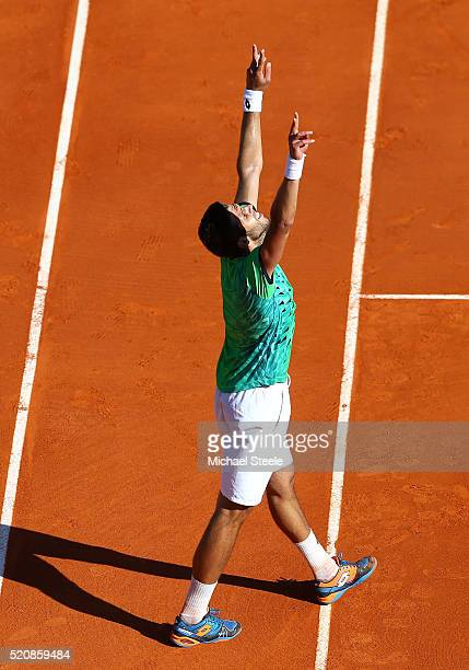 Jiri Vesely of the Czech Republic celebrates victory during his second round match against Novak Djokovic of Serbia on day four of the Monte Carlo...