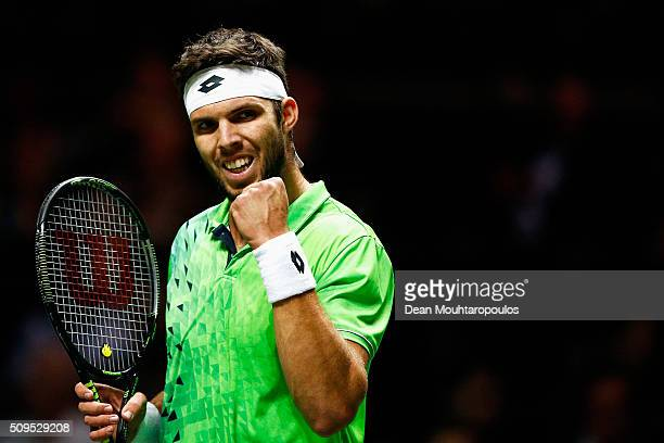 Jiri Vesely of the Czech Republic celebrates winning a point against Roberto Bautista Agut of Spain during day 4 of the ABN AMRO World Tennis...