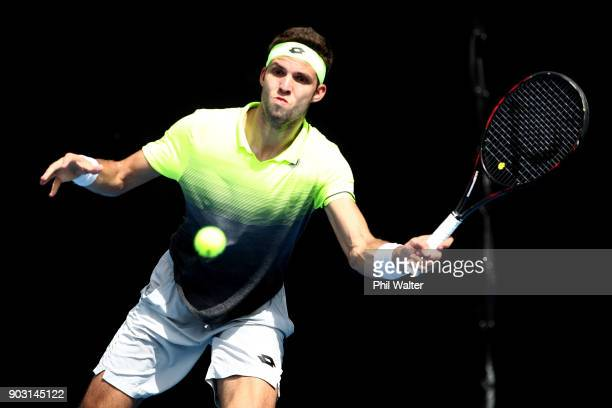 Jiri Vesely of the Czech Republic plays a backahand in his second round match against Sam Querrey of the USA on day three of the ASB Men's Classic at...