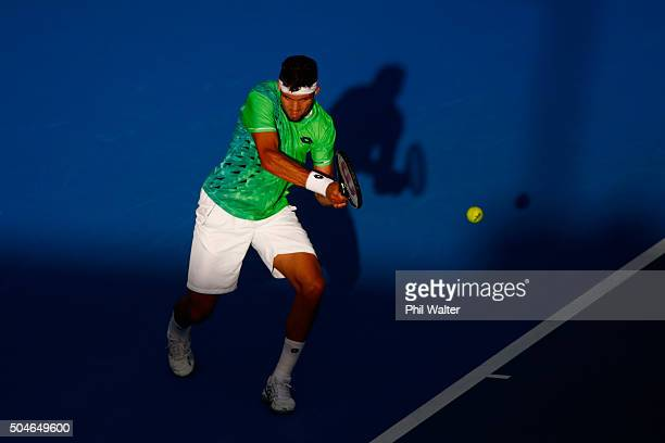 Jiri Vesely of the Czech Republic plays a backhand against Roberto Agut Bautista of Spain in their singles match on Day 8 of the ASB Classic on...