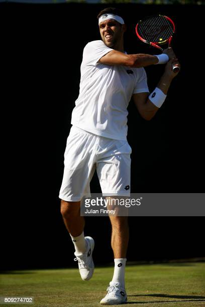 Jiri Vesely of The Czech Republic plays a backhand during the Gentlemen's Singles second round match against Fabio Fognini of Italy on day three of...