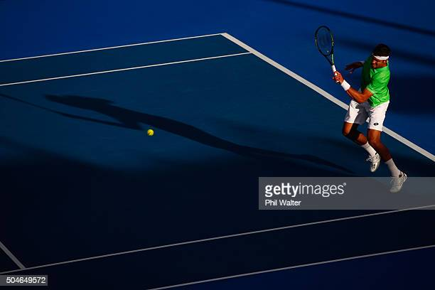 Jiri Vesely of the Czech Republic plays a forehand against Roberto Agut Bautista of Spain in their singles match on Day 8 of the ASB Classic on...