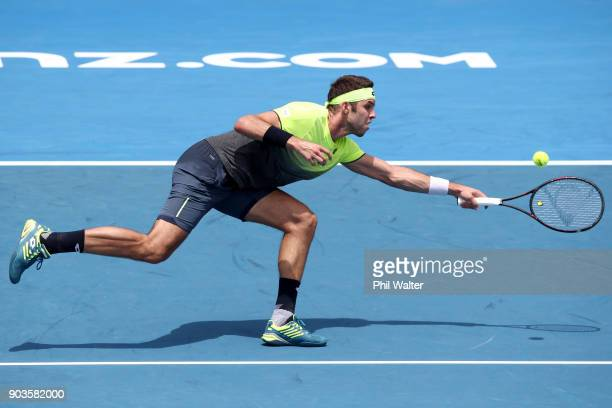 Jiri Vesely of the Czech Republic plays a forehand in his quarterfinal match against Roberto Bautista Agut of Spain during day four of the ASB Men's...