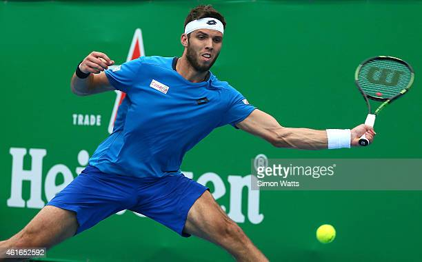 Jiri Vesely of the Czech Republic plays a shot during his singles final match against Adrian Mannarino of France during day seven of the 2015...