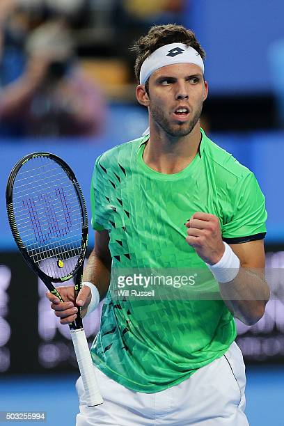 Jiri Vesely of the Czech Republic reacts after winning a point in the men's single match against Lleyton Hewitt of Australia Gold during day one of...