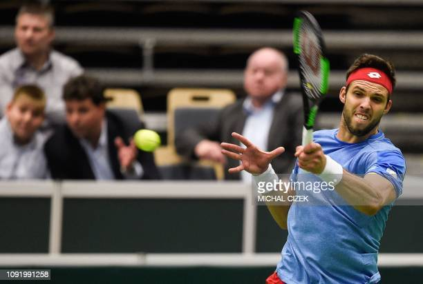 Jiri Vesely of the Czech Republic returns the ball to Tallon Griekspoor of the Netherlands during the Tennis DavisCup qualifiers Czech Republic vs...