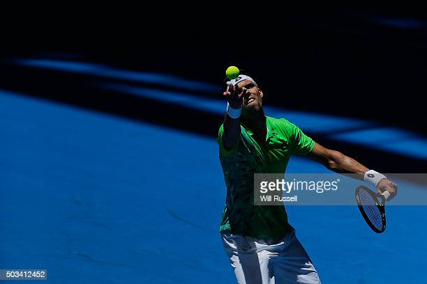 Jiri Vesely of the Czech Republic serves in the men's single match against Alexandr Dolgopolov of the Ukraine during day three of the 2016 Hopman Cup...