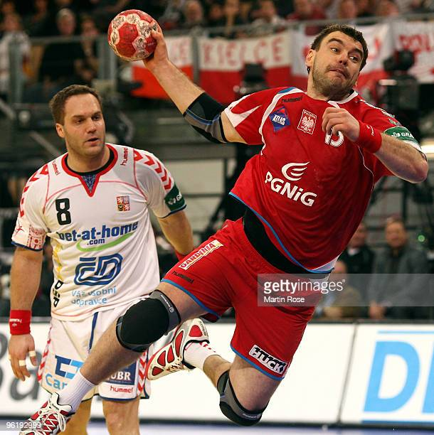Jiri Vitek of Poland throws at goal during the Men's Handball European main round Group II match between Poland and Czech Republic at the Olympia...