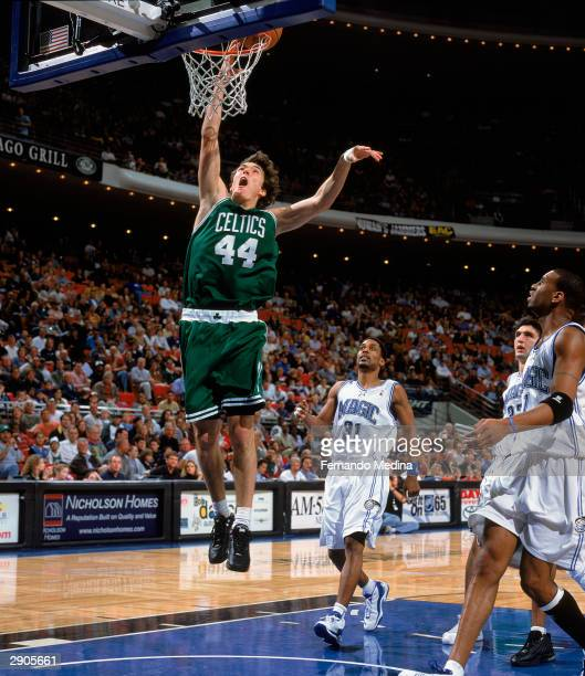 Jiri Welsch of the Boston Celtics goes up for the easy layup against the Orlando Magic during the game on January 16, 2004 at TD Waterhouse Centre in...