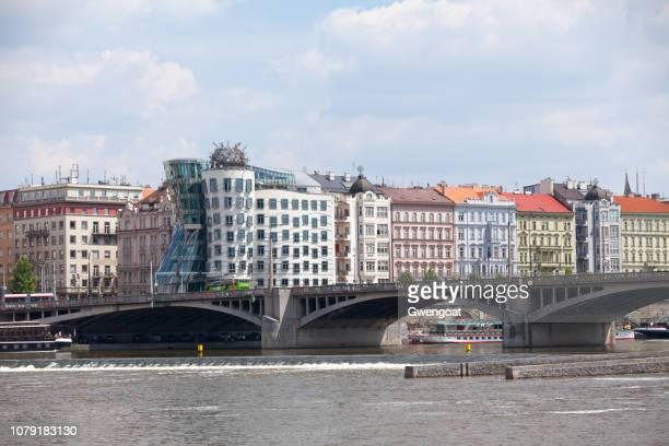 Jirásek Bridge and the Dancing House in Prague