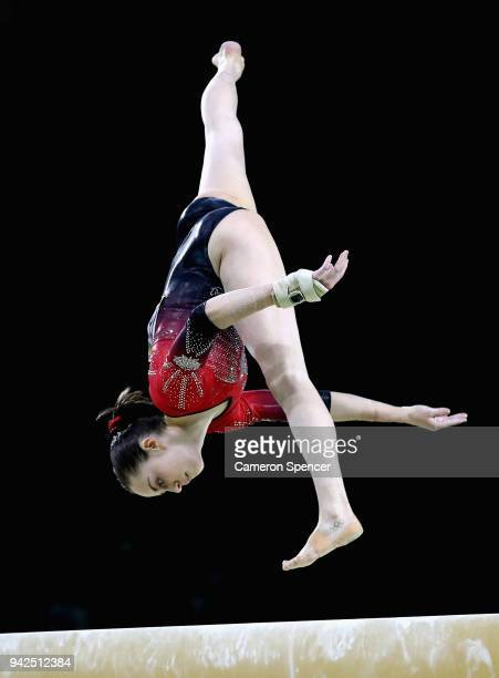 JIsabela Onyshko of Canada competes on the beam during the Women's Team Final and Individual Qualification Artistic Gymnastics on day two of the Gold...