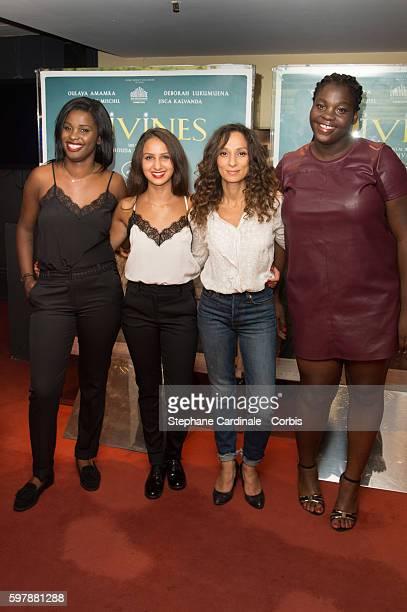Jisca Kalvanda Oulaya Amamra Houda Benyamina and Deborah Lukumuen attend the Divines Paris Premiere at UGC Cine Cite des Halles on August 29 2016 in...