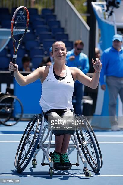 Jiske Griffioen of the Netherlands celebrates winning her Women's Wheelchair Singles Final against Aniek Van Koot of the Netherlands during the...