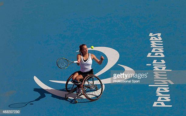 Jiske Griffioen of the Netherlands wins the bronze medal defeating Sabrine Ellerbrock of Germany in the Paralympic Games at Eton Manor in London 6th...