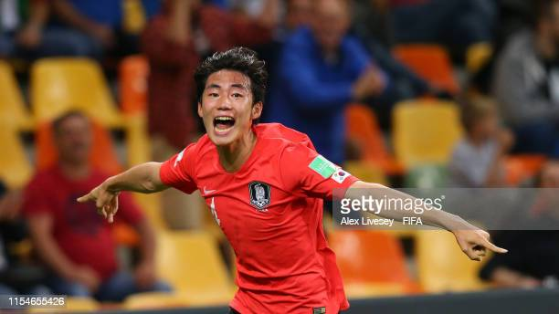 Jisol Lee of Korea Republic celebrates after scoring his team's second goal during the 2019 FIFA U20 World Cup Quarter Final match between Korea...