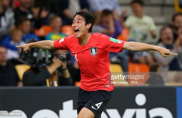 Jisol Lee of Korea Republic celebrates after scoring his team's second goal during the 2019 FIFA U20 World Cup Quarter Final match between Korea...