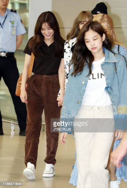 Jisoo and Jennie of BLACKPINK at Incheon International Airport on June 16 2019 in Incheon South Korea