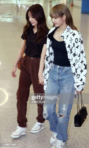 Jisoo and Lisa at Incheon International Airport on June 16 2019 in Incheon South Korea
