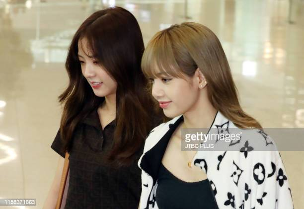 Jisoo and Lisa of BLACKPINK at Incheon International Airport on June 16 2019 in Incheon South Korea