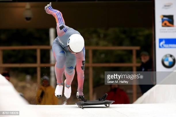 Jisoo Kim of Korea takes a training run in the Men's Skeleton during the BMW IBSF Bobsleigh Skeleton World Cup at Utah Olympic Park November 16 2017...