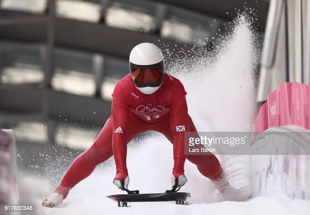 Jisoo Kim of Korea trains during the Mens Skeleton training session on day four of the PyeongChang 2018 Winter Olympic Games at Olympic Sliding...