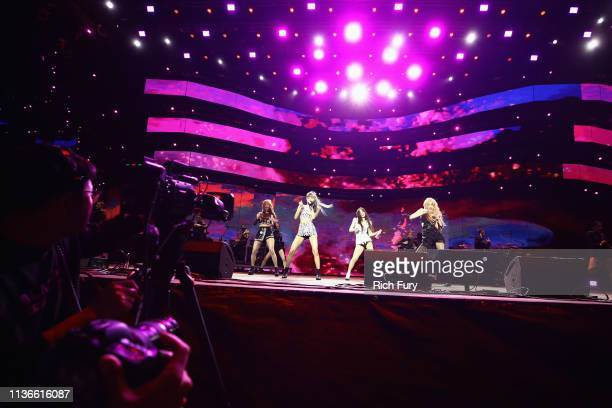 Jisoo, Lisa, Jennie Kim, and Rosé of BLACKPINK perform at Sahara Tent during the 2019 Coachella Valley Music And Arts Festival on April 12, 2019 in...