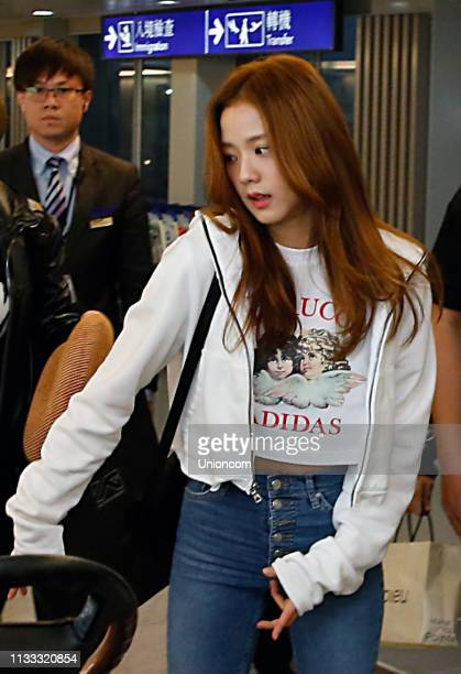 Jisoo of South Korean girl group Blackpink arrives at an airport on March 2, 2019 in Taipei, Taiwan of China.