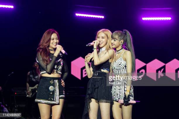 Jisoo Rose and Lisa of BLACKPINK perform onstage during Weekend 1 Day 1 of the 2019 Coachella Valley Music and Arts Festival on April 12 2019 in...