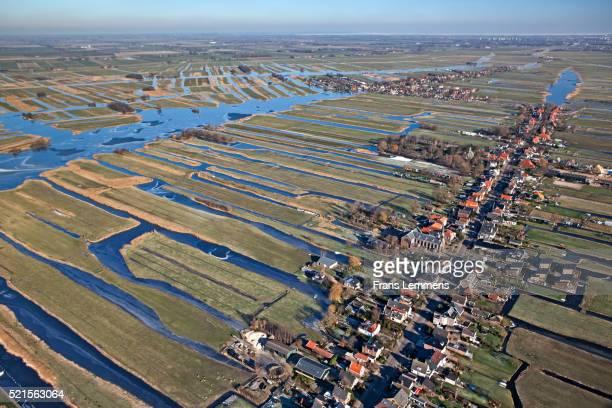 jisp village and polder landscape - 干拓地 ストックフォトと画像