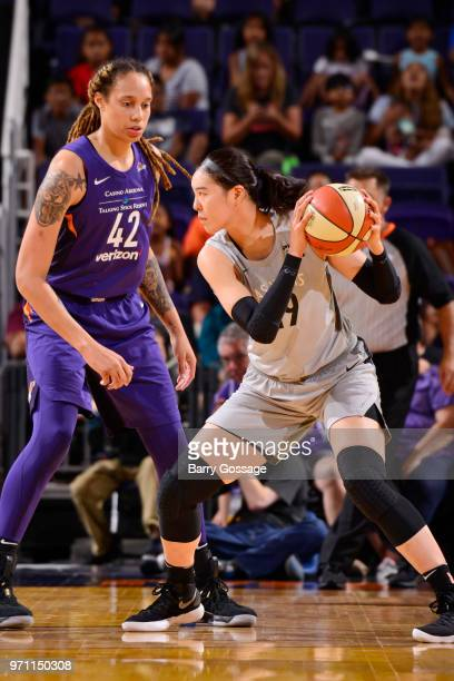 JiSu Park of the Las Vegas Aces handles the ball against the Phoenix Mercury on June 10 2018 at Talking Stick Resort Arena in Phoenix Arizona NOTE TO...