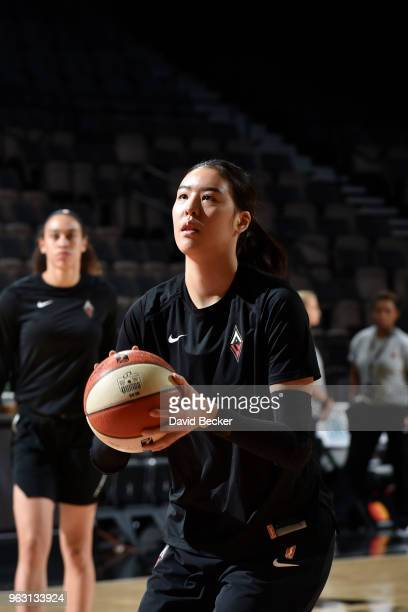 JiSu Park of the Las Vegas Aces handles the ball before the game against the Seattle Storm on May 27 2018 at the Mandalay Bay Events Center in Las...