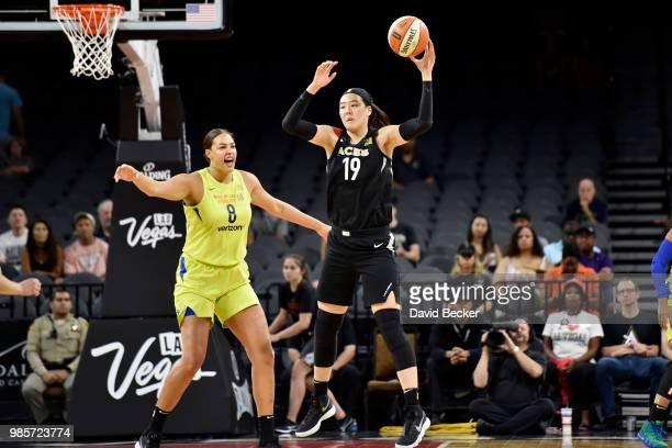 JiSu Park of the Las Vegas Aces handles the ball during the game against the Dallas Wings on June 27 2018 at the Mandalay Bay Events Center in Las...
