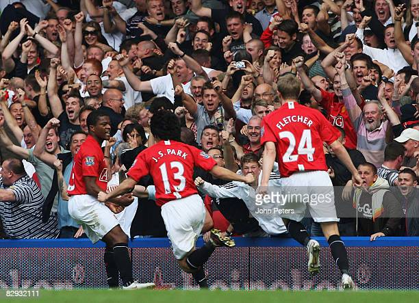 JiSung Park of Manchester United celebrates scoring their first goal during the FA Premier League match between Chelsea and Manchester United at...