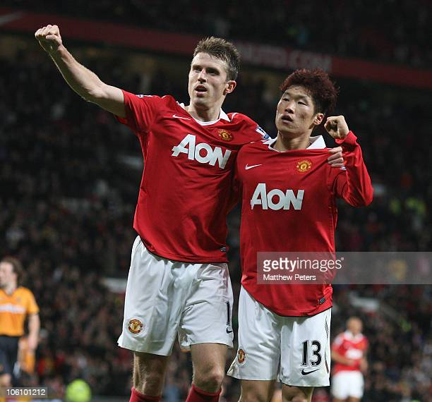 Ji-Sung Park of Manchester United celebrates scoring their second goal during the Carling Cup Fourth Round match between Manchester United and...
