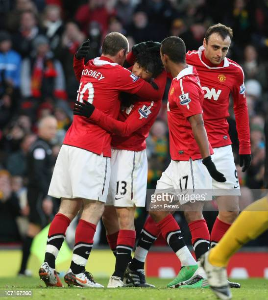 JiSung Park of Manchester United celebrates scoring their second goal during the Barclays Premier League match between Manchester United and...