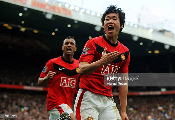 JiSung Park of Manchester United celebrates scoring to make it 21 during the Barclays Premier League match between Manchester United and Liverpool at...