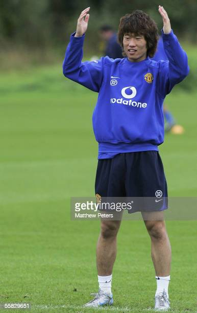 Ji-Sung Park of Manchester United in action during a first team training session at Carrington Training Ground on 30 September 2005 in Manchester,...