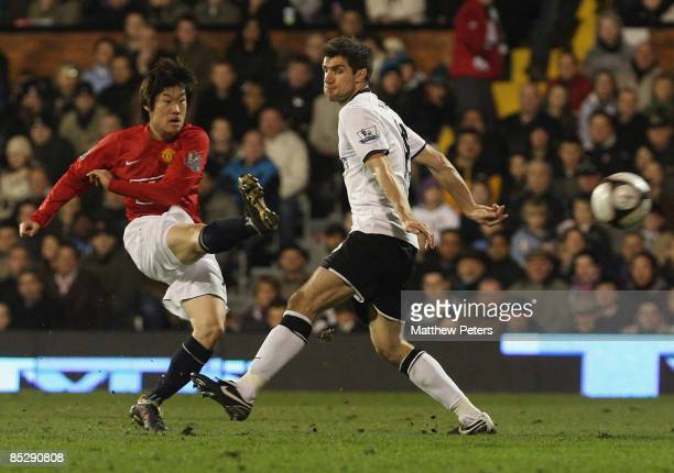 Ji-Sung Park of Manchester United scores their fourth goal during the FA Cup sponsored by e.on Sixth Round match between Fulham and Manchester United...