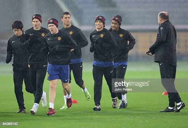 JiSung Park Ryan Giggs Paul Scholes Cristiano Ronaldo Rafael Da Silva and Anderson of Manchester United take part in a First Team Training Session...