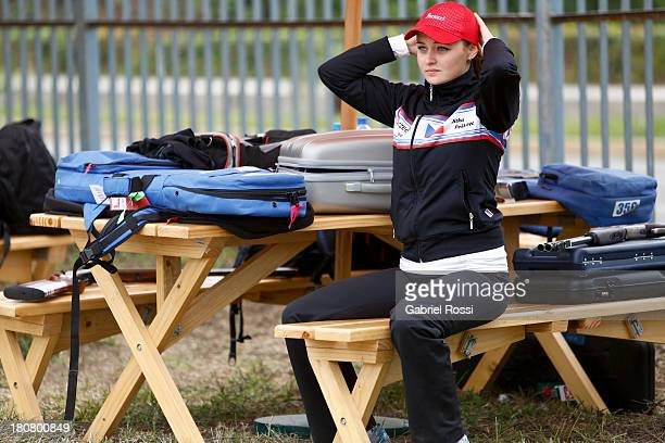 Jitka Peskova of Czech Republic looks on after competing in Women's Skeet Shooting Qualification on Day 1 of the ISSF World Championship Shotgun at...